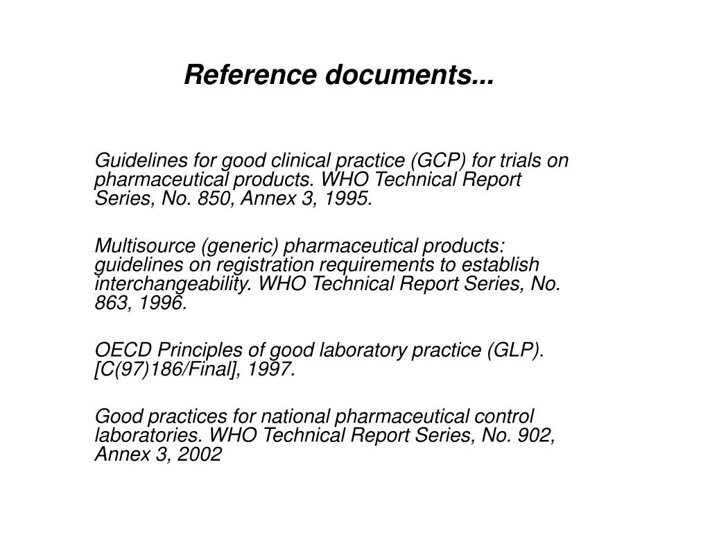 Reference documents...
