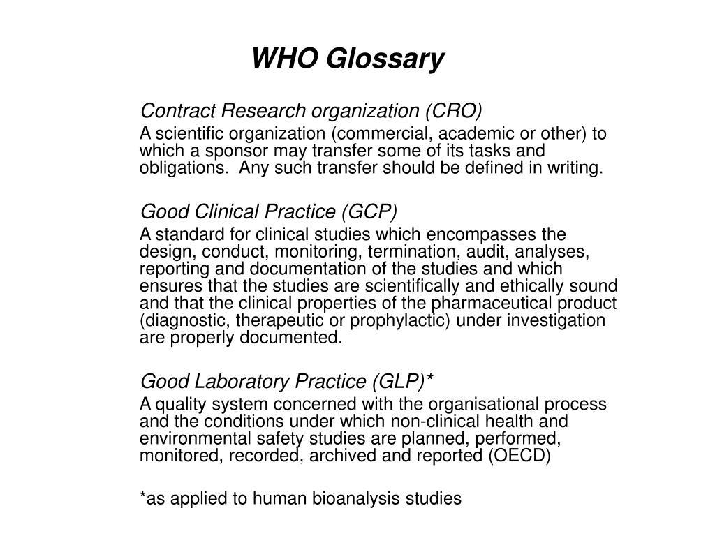 WHO Glossary