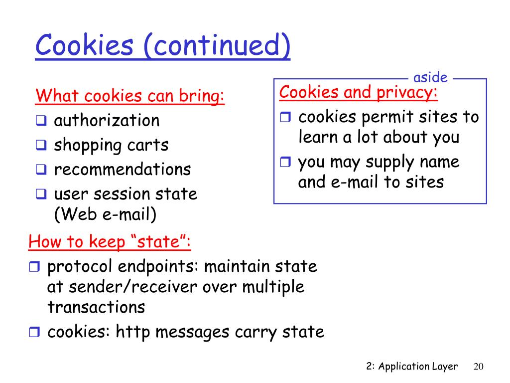 Cookies (continued)