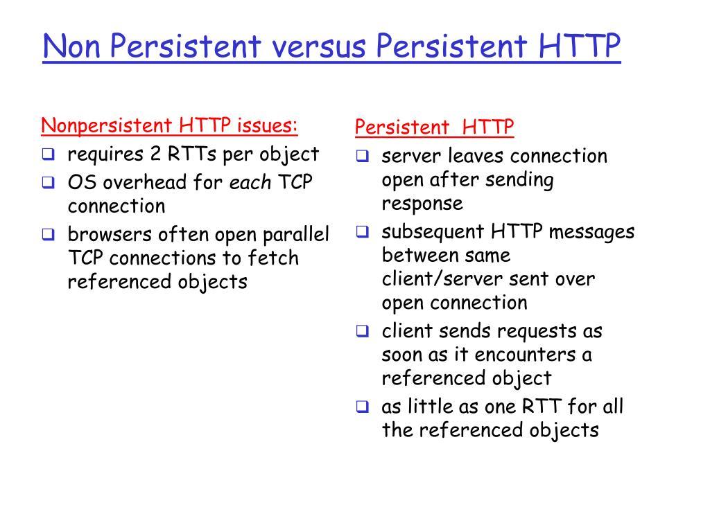 Non Persistent versus Persistent HTTP
