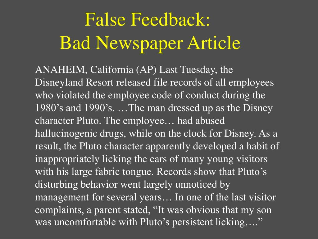 False Feedback: