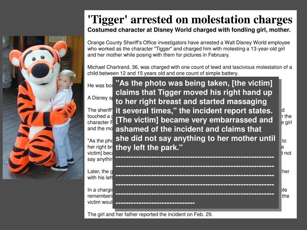 'Tigger' arrested on molestation charges