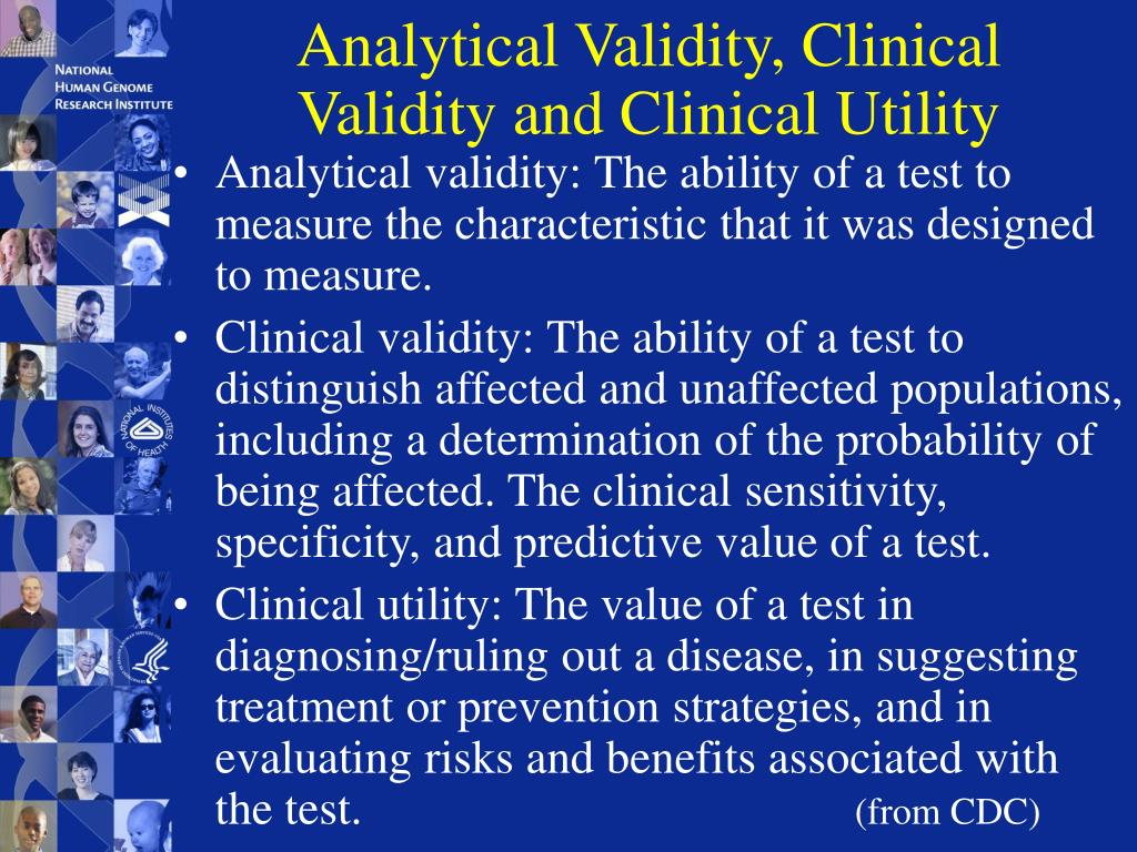 Analytical Validity, Clinical Validity and Clinical Utility