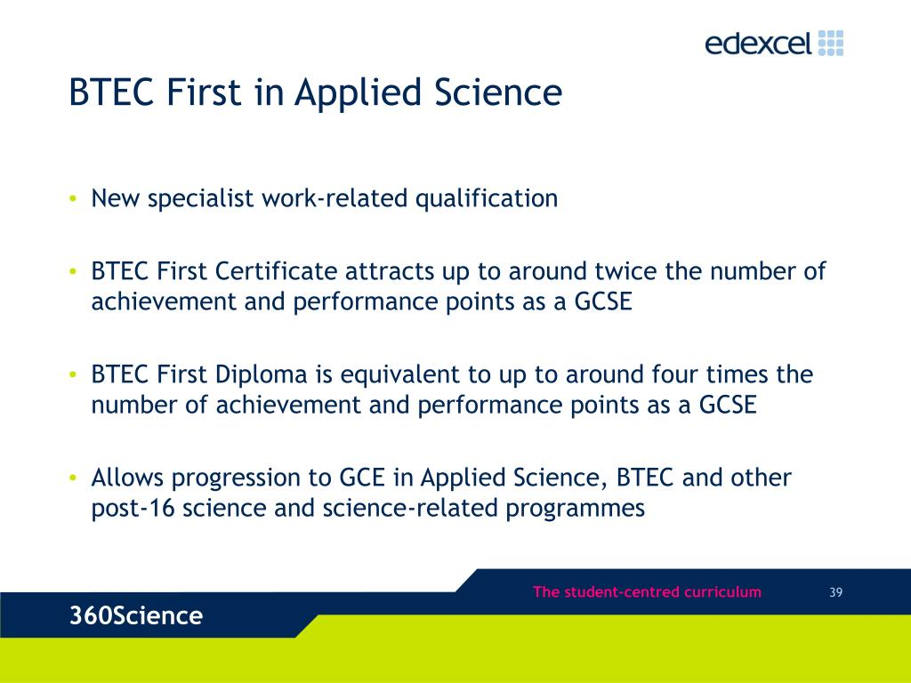BTEC First in Applied Science
