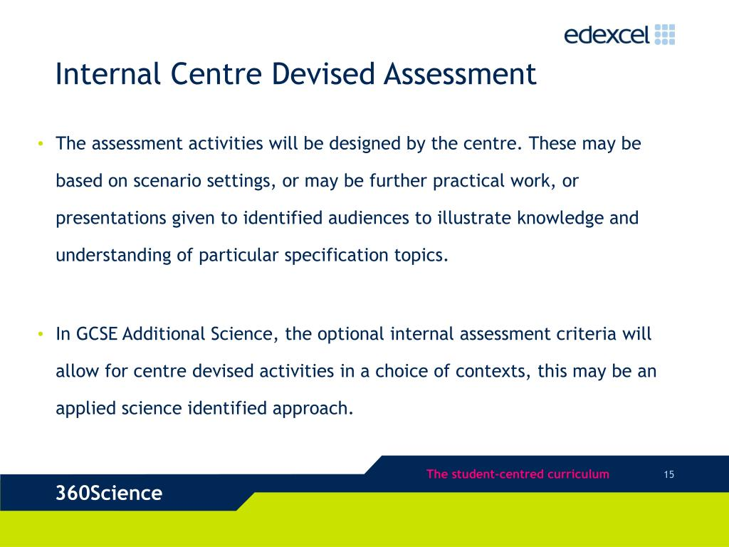 Internal Centre Devised Assessment