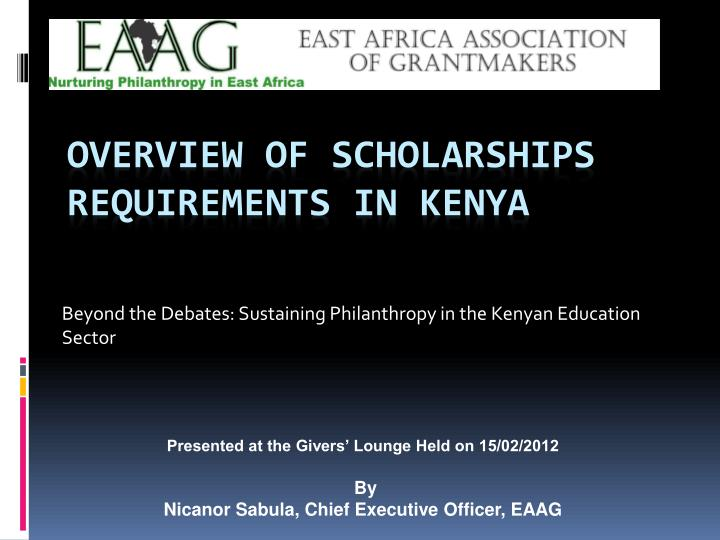 Beyond the debates sustaining philanthropy in the kenyan education sector