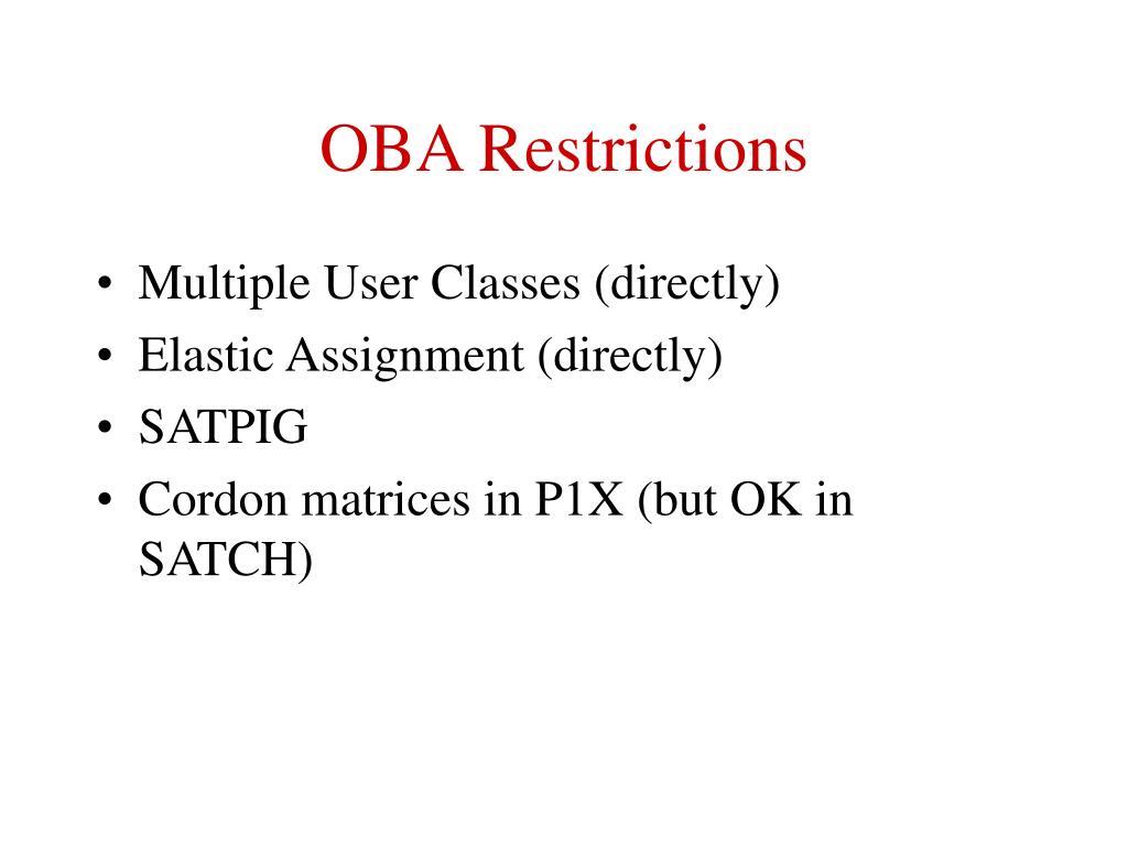 OBA Restrictions