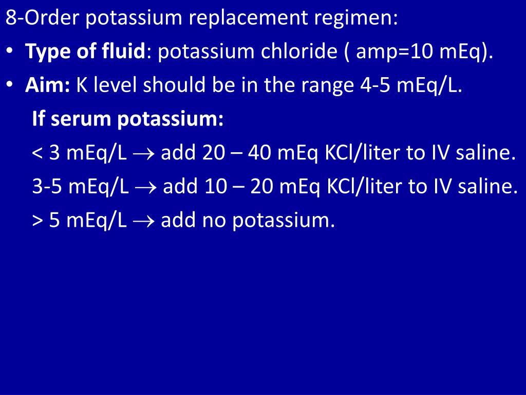 8-Order potassium replacement regimen: