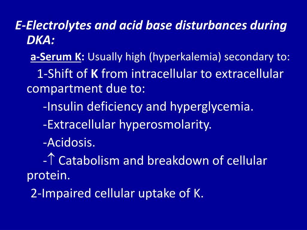 E-Electrolytes and acid base disturbances during DKA: