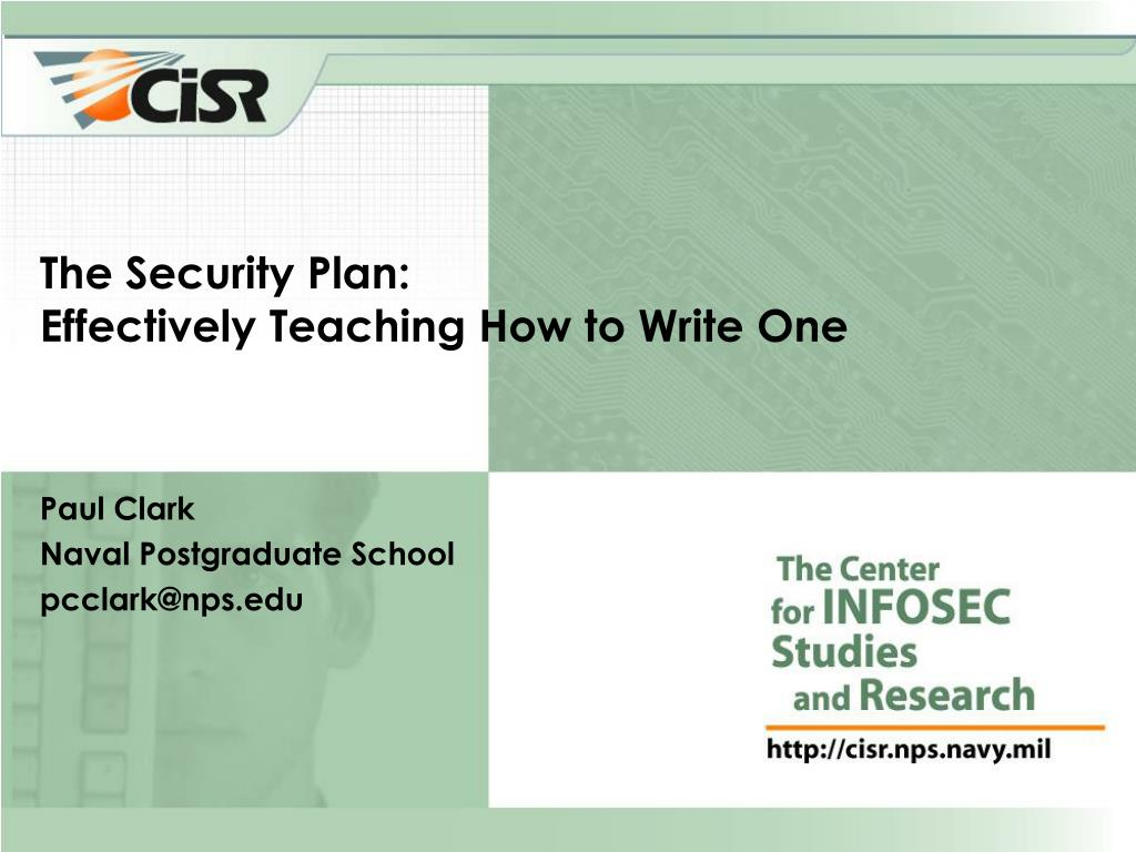 The Security Plan: