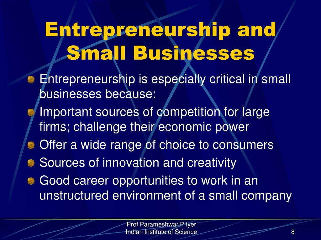 Entrepreneurship and Small Businesses
