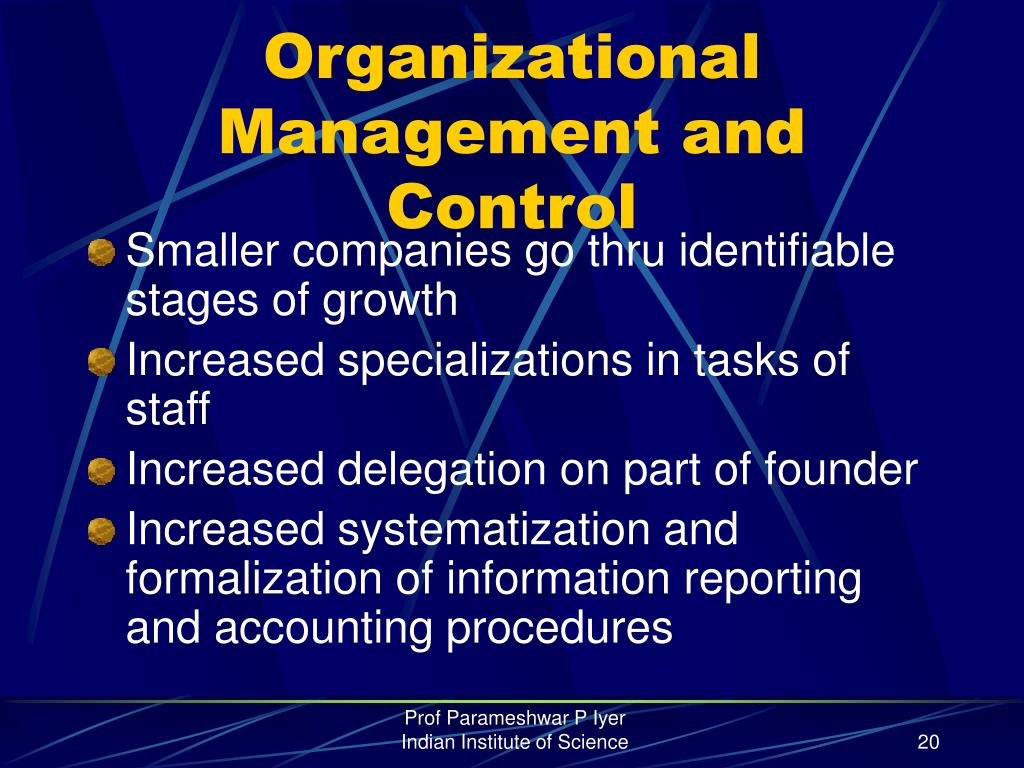 Organizational Management and Control
