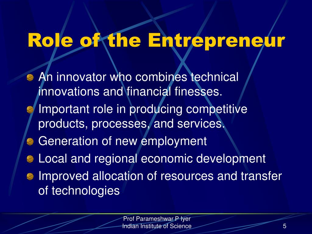 Role of the Entrepreneur