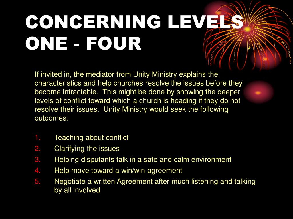 CONCERNING LEVELS ONE - FOUR