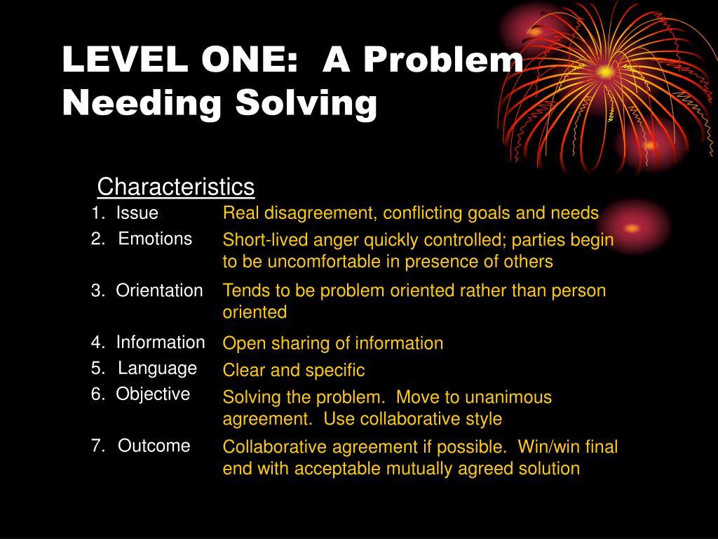 LEVEL ONE:  A Problem Needing Solving
