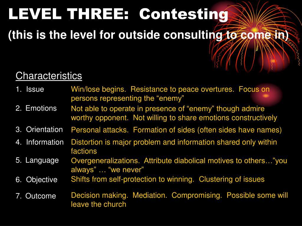 LEVEL THREE:  Contesting