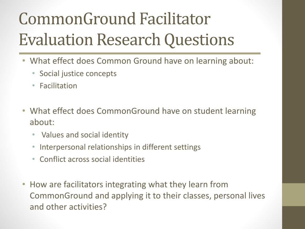 CommonGround Facilitator Evaluation Research Questions