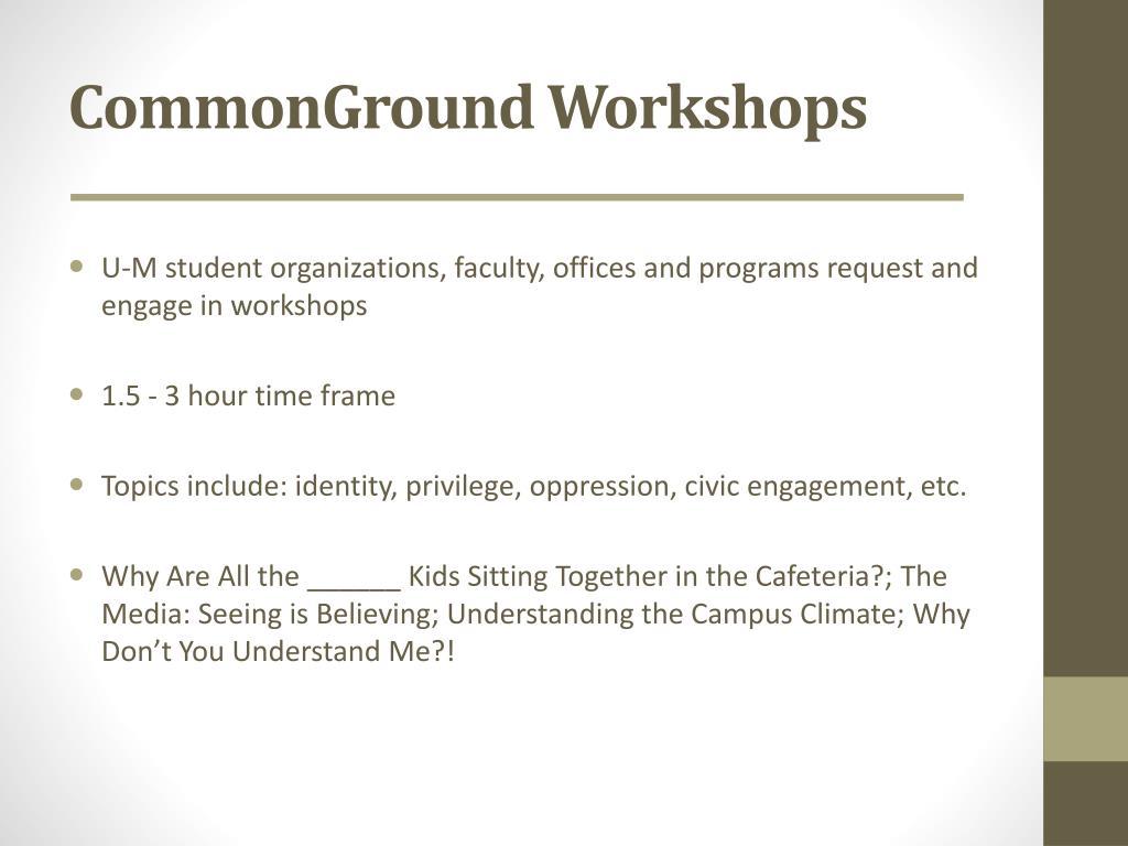 CommonGround Workshops