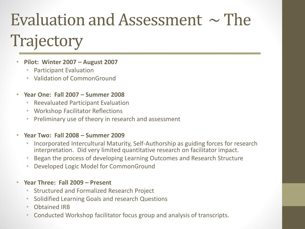 Evaluation and Assessment  ~ The Trajectory