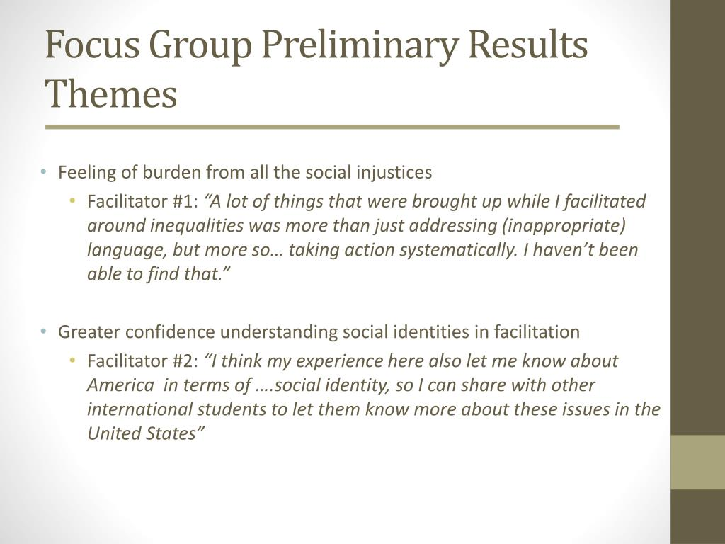 Focus Group Preliminary Results