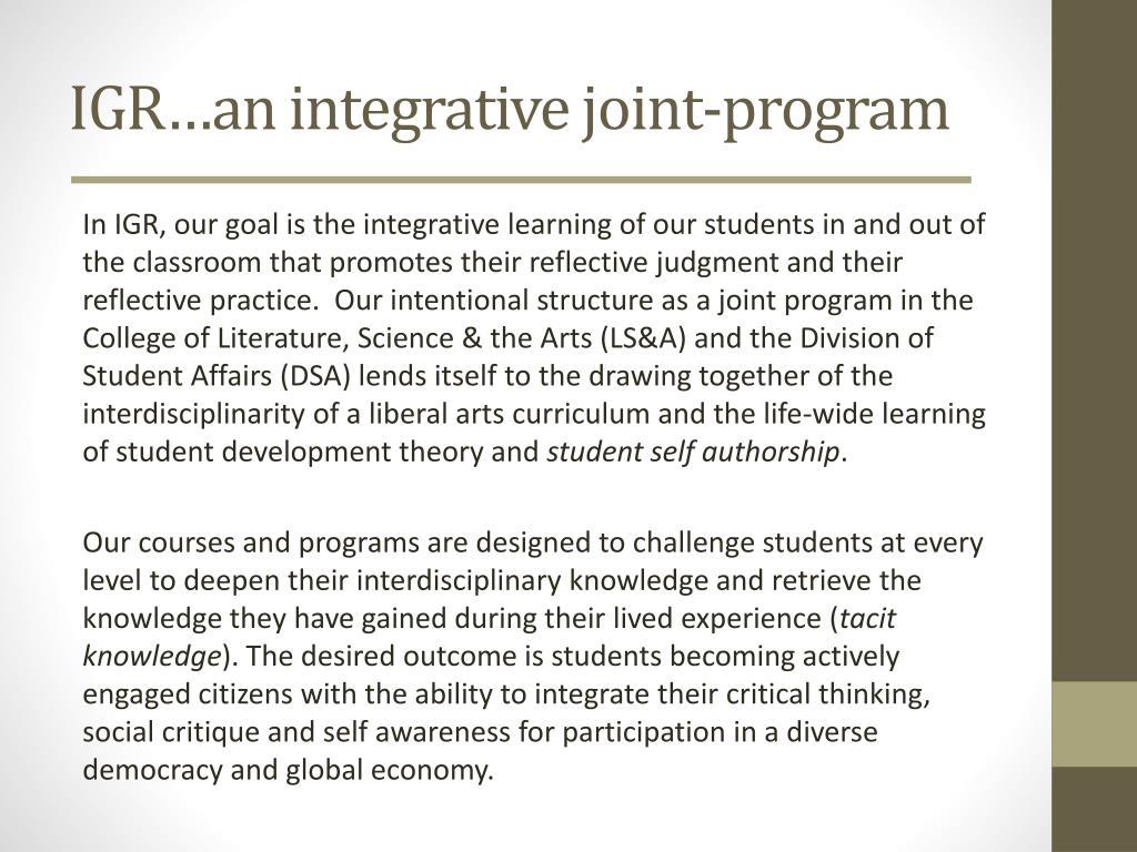 IGR…an integrative joint-program