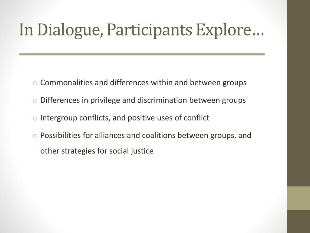 In Dialogue, Participants Explore…
