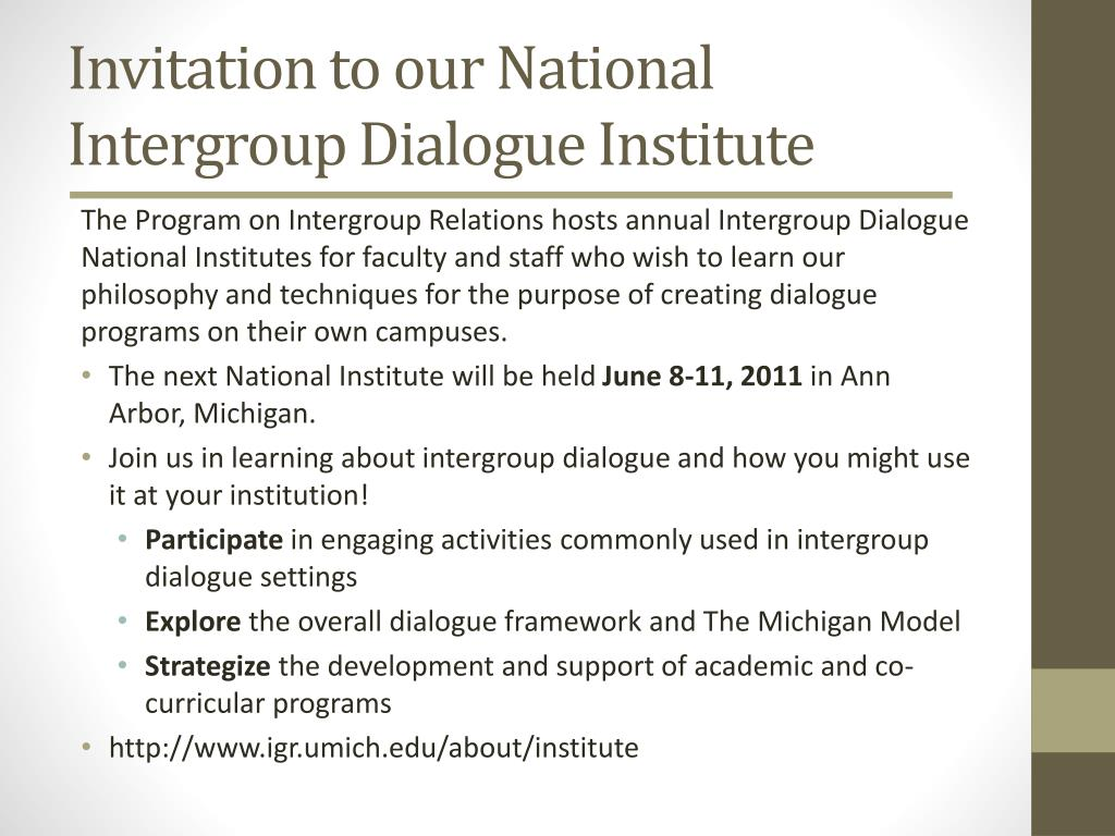 Invitation to our National Intergroup Dialogue Institute
