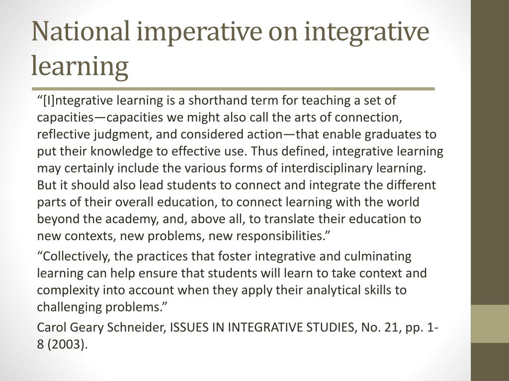 National imperative on integrative learning