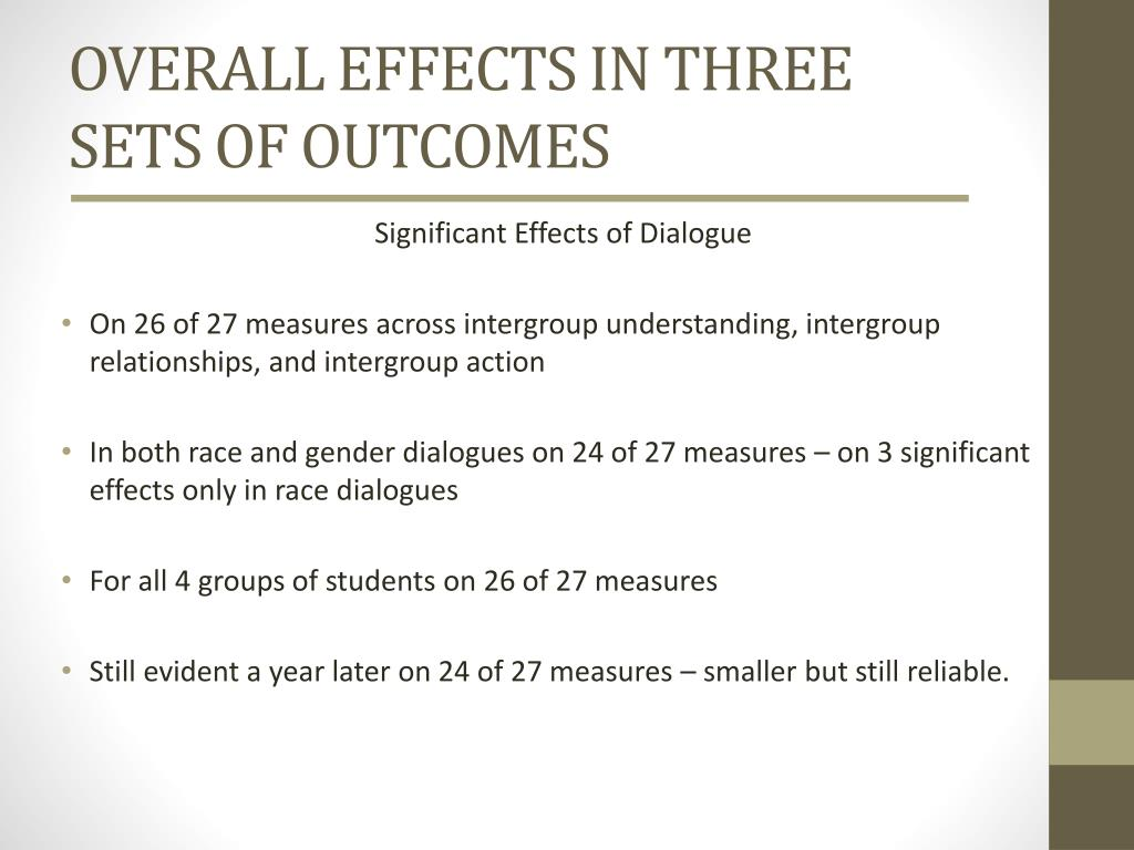 OVERALL EFFECTS IN THREE SETS OF OUTCOMES