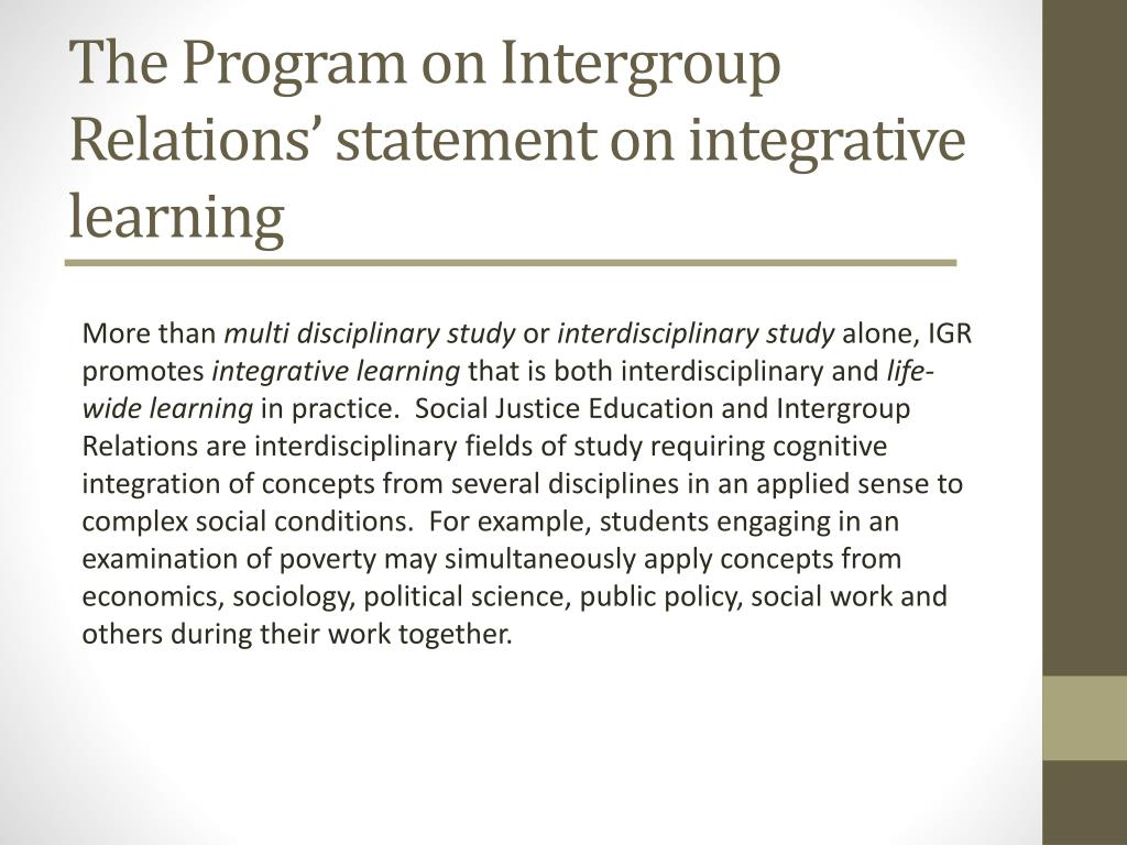 The Program on Intergroup Relations' statement on integrative learning