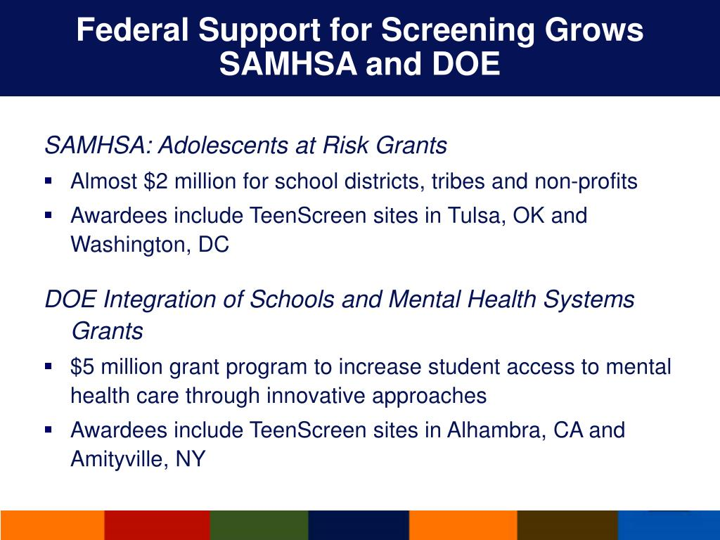 Federal Support for Screening Grows