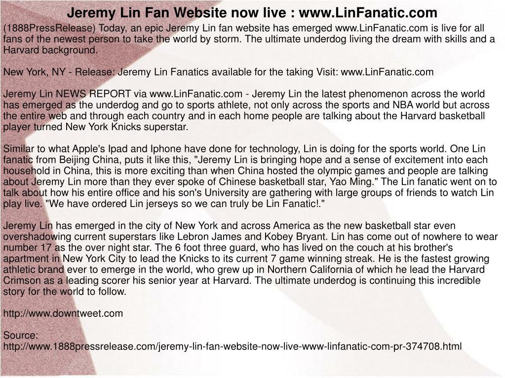 Jeremy Lin Fan Website now live : www.LinFanatic.com