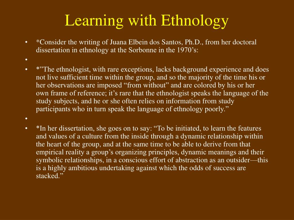 Learning with Ethnology
