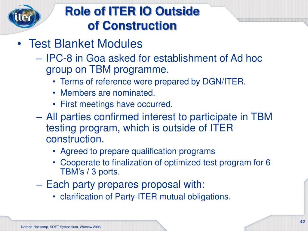 Role of ITER IO Outside of Construction