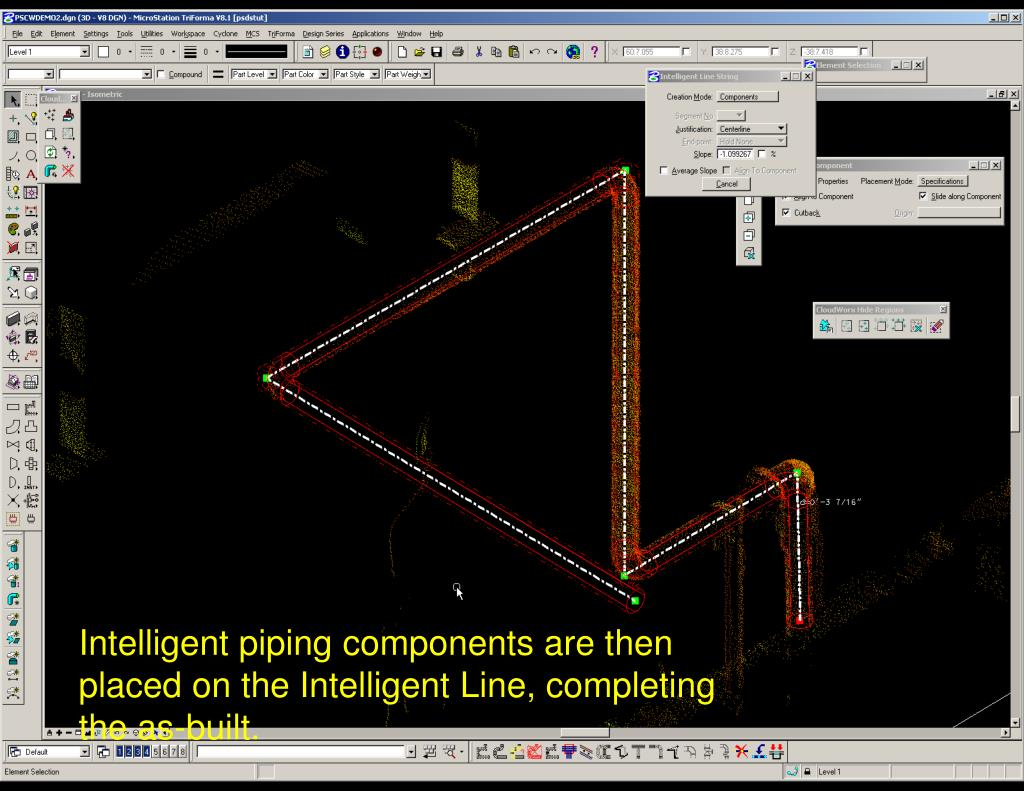 Intelligent piping components are then placed on the Intelligent Line, completing the as-built.