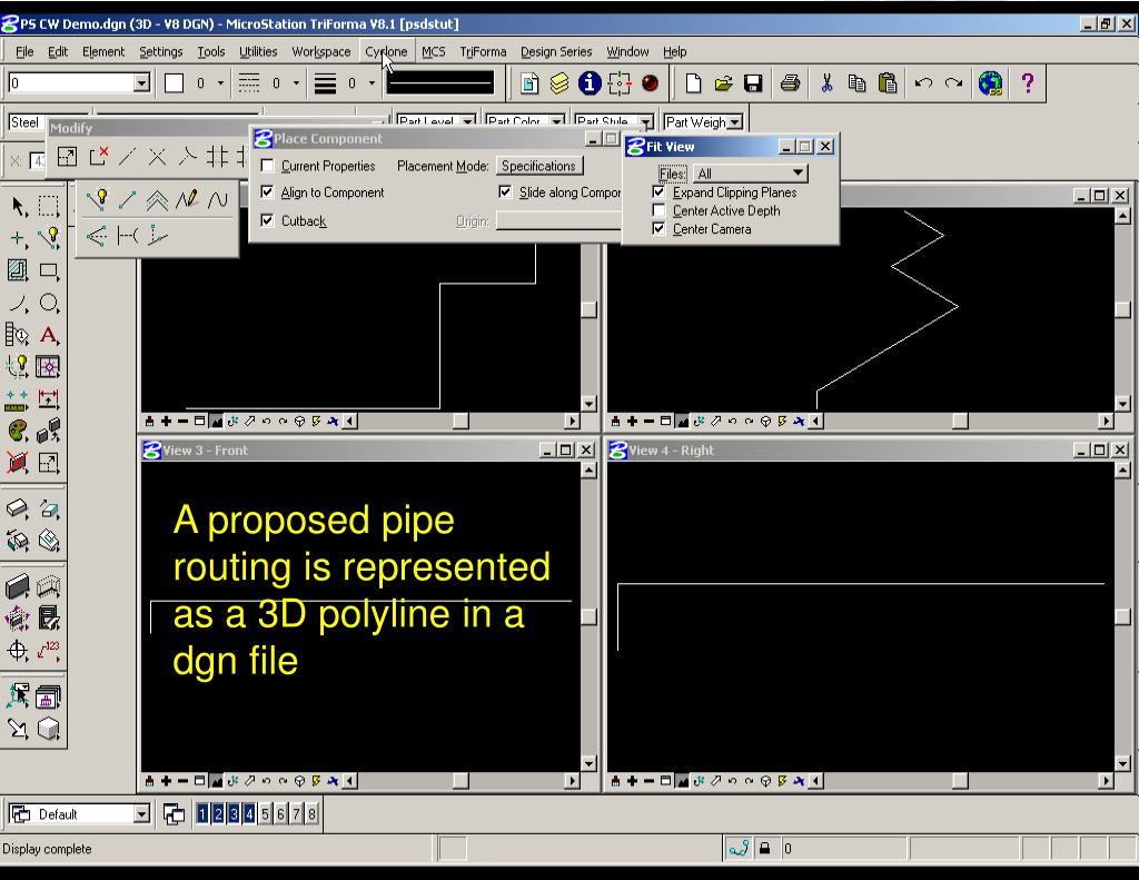 A proposed pipe routing is represented as a 3D polyline in a dgn file