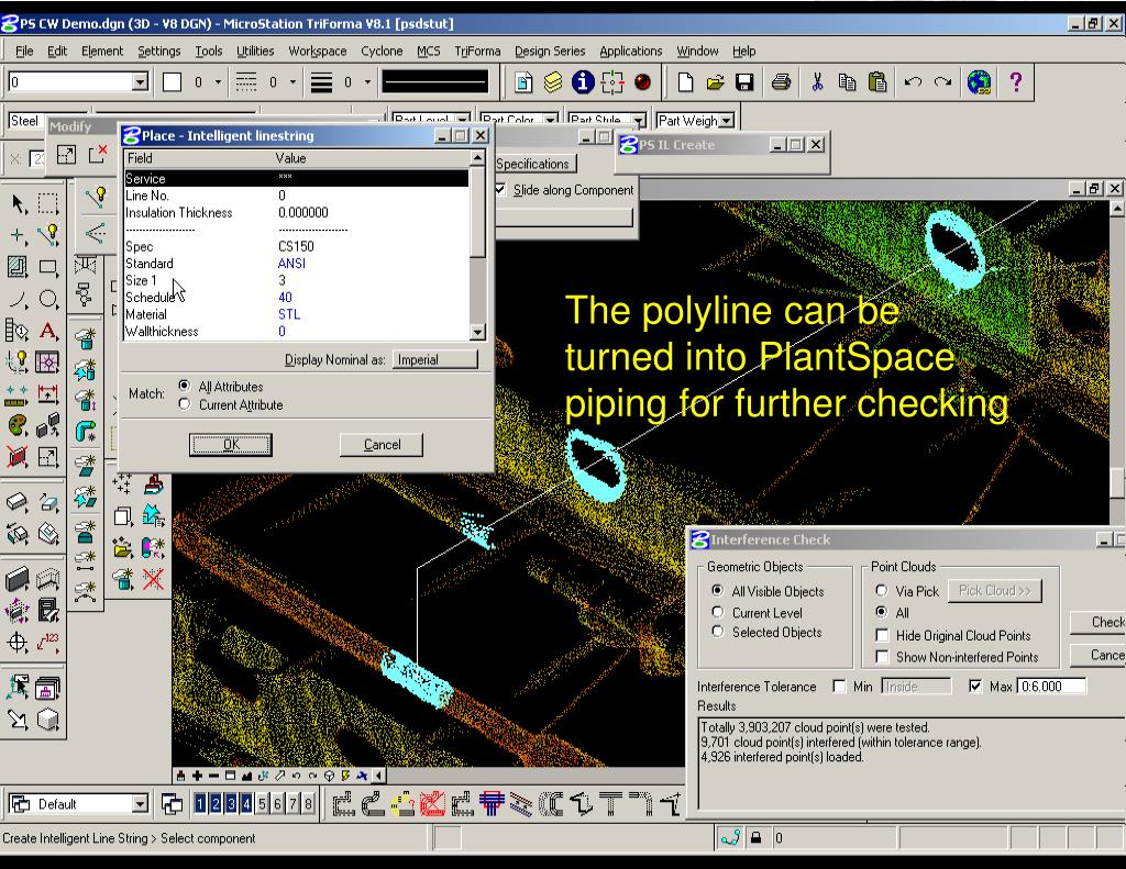 The polyline can be turned into PlantSpace piping for further checking