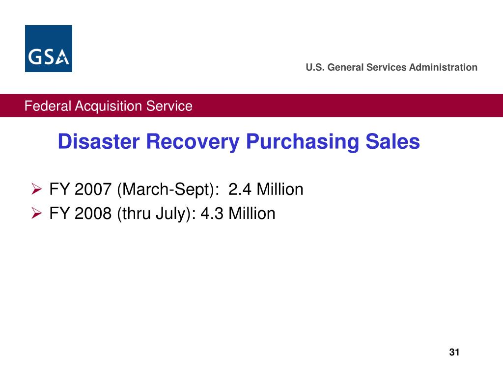 Disaster Recovery Purchasing Sales