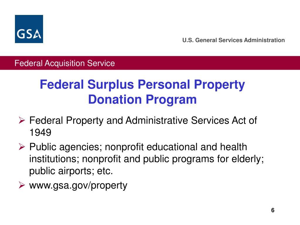 Federal Surplus Personal Property Donation Program