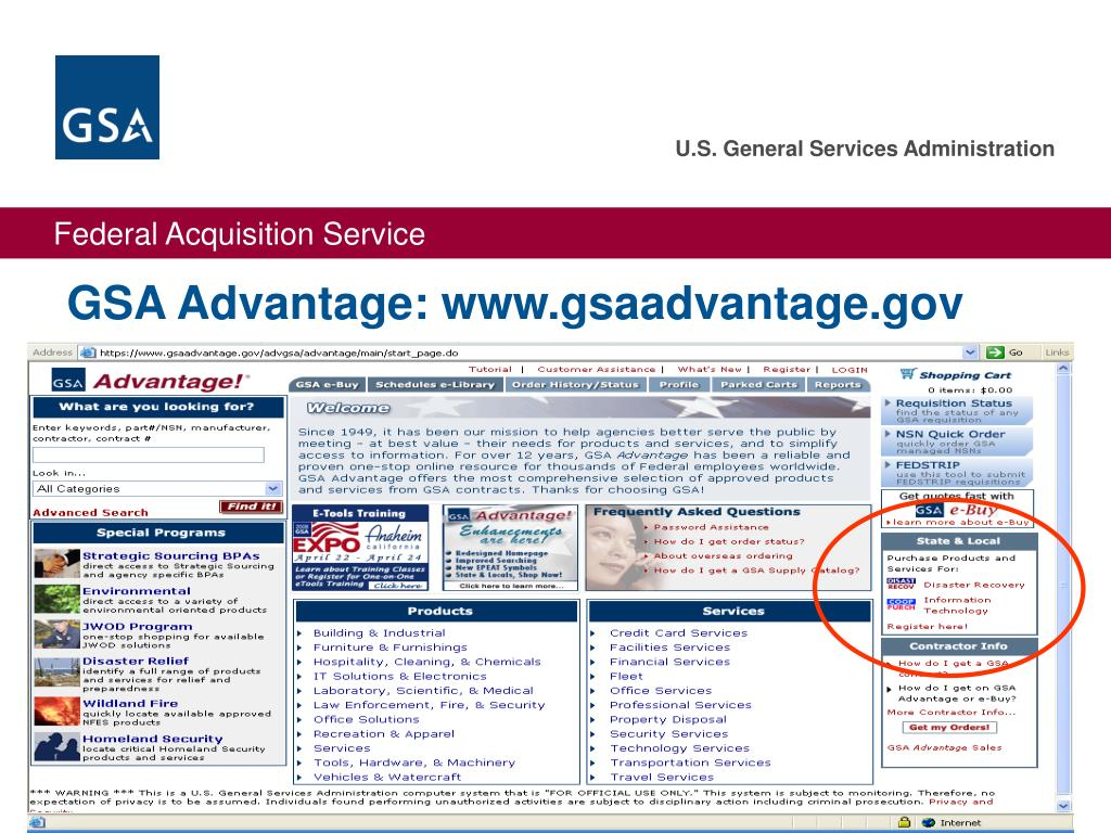 GSA Advantage: www.gsaadvantage.gov