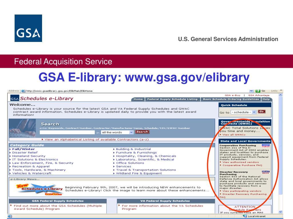 GSA E-library: www.gsa.gov/elibrary