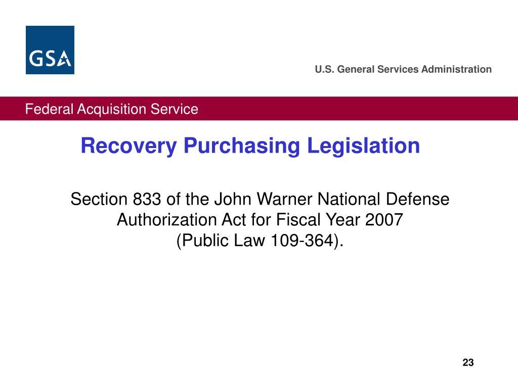 Recovery Purchasing Legislation