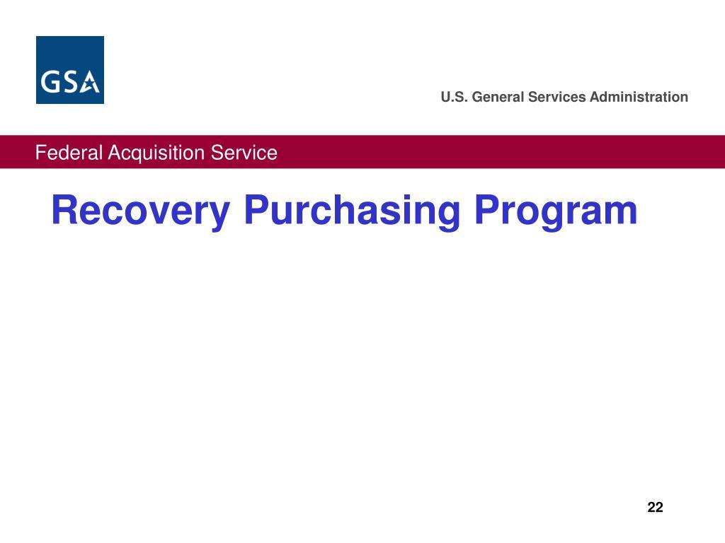 Recovery Purchasing Program