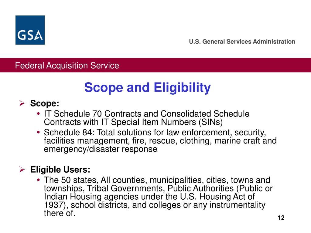 Scope and Eligibility