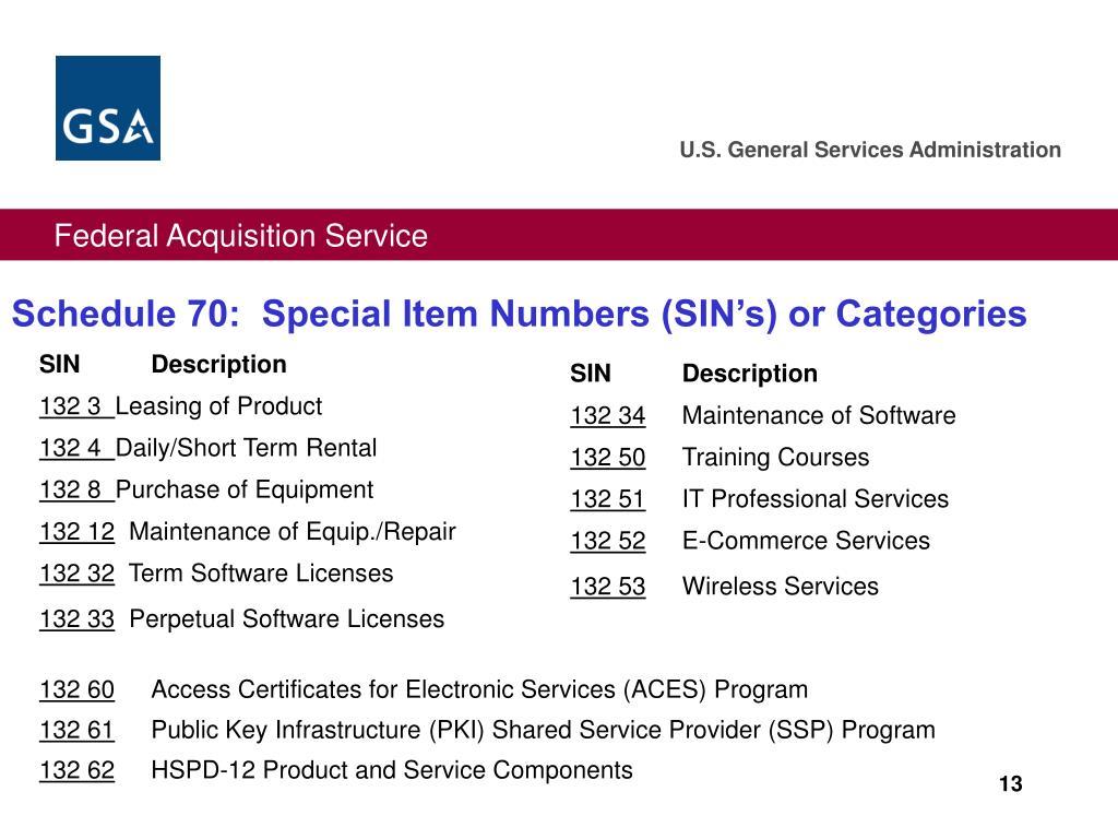 Schedule 70:  Special Item Numbers (SIN's) or Categories