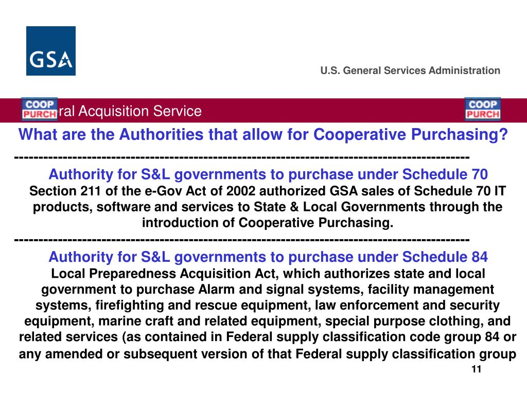 What are the Authorities that allow for Cooperative Purchasing?