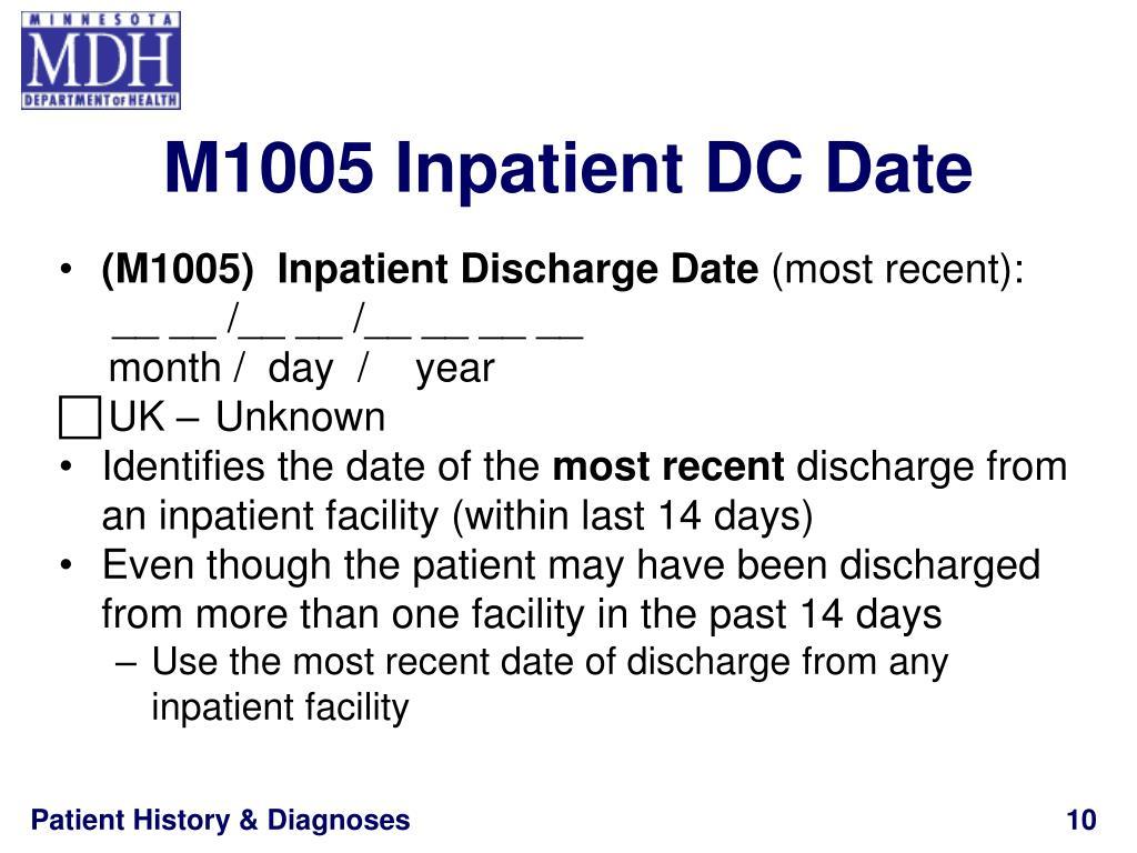 M1005 Inpatient DC Date