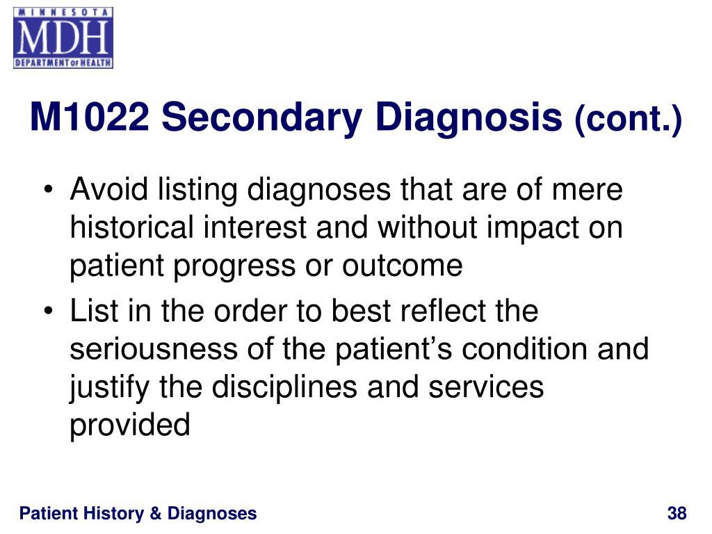 M1022 Secondary Diagnosis
