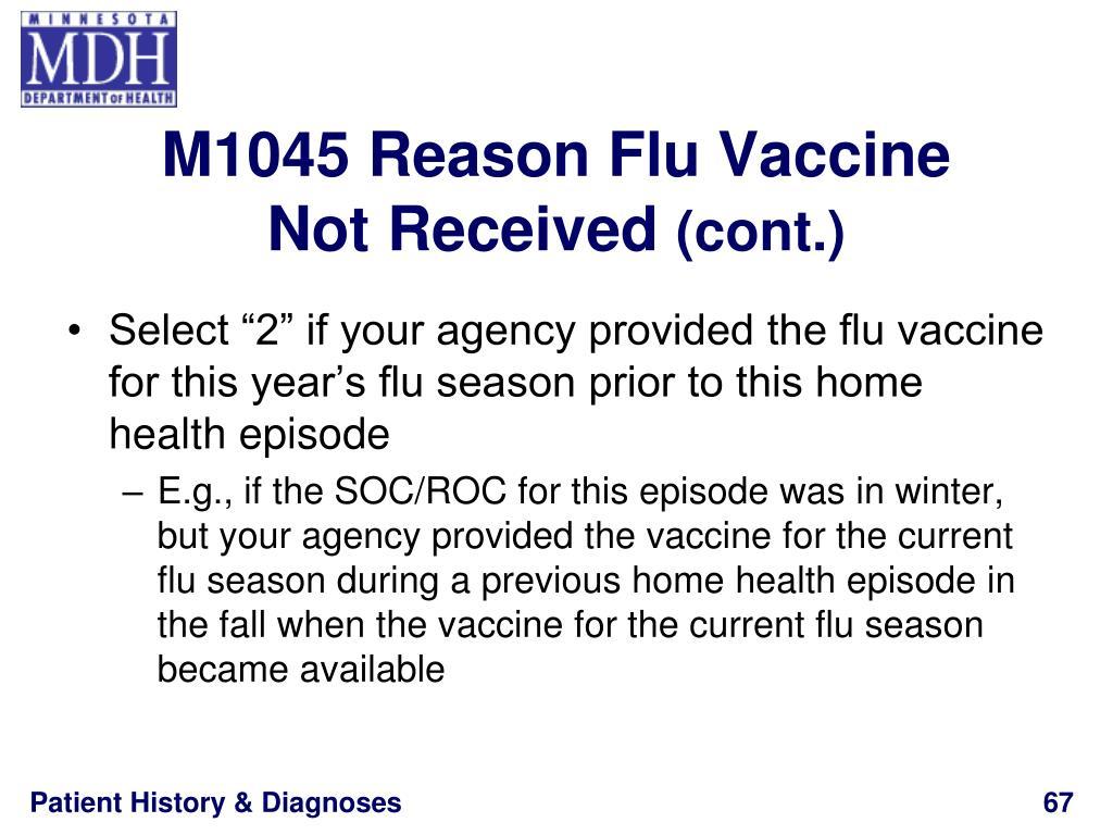 M1045 Reason Flu Vaccine
