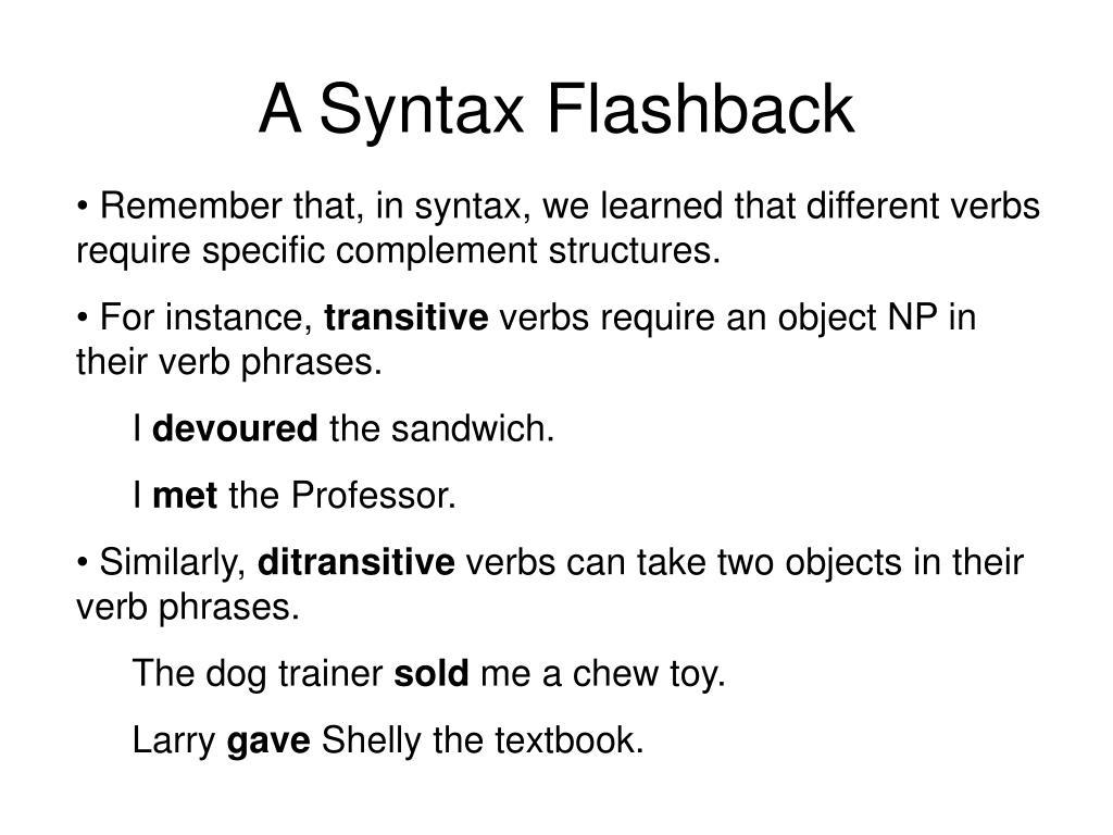 A Syntax Flashback
